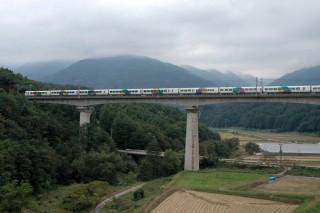 立場川鉄橋を行く上りあずさ