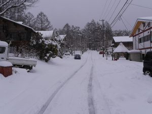 Road in front of the pension