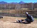 まるやち湖でモモと遊ぶ
