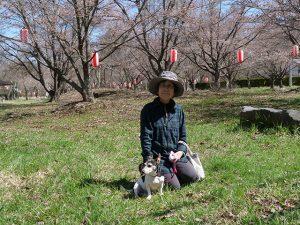 もみの湯の桜の前で記念撮影